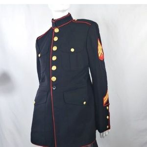 Vintage Marines Dress Blues Military Blazer Jacket